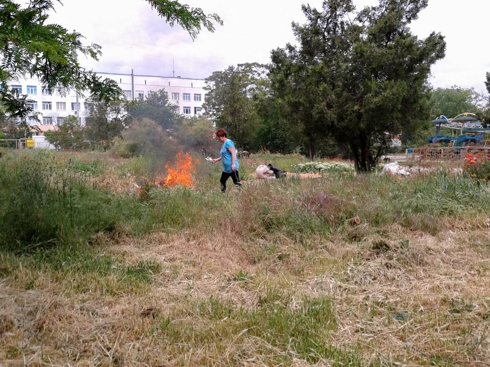 задний двор огонь